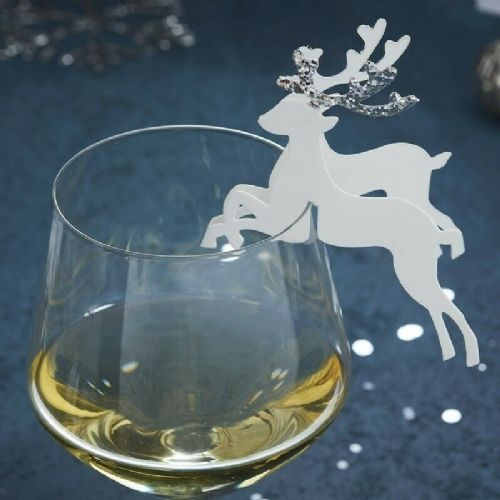 Silver Reindeer Glass Decoration 10pk